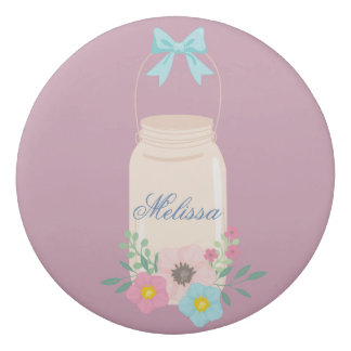 Purple Floral Mason Jar Eraser