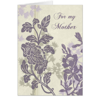 Purple Floral Mom  Wedding Day Thank You Card