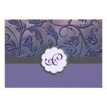 Purple Floral Monogram Response Card Custom Announcement