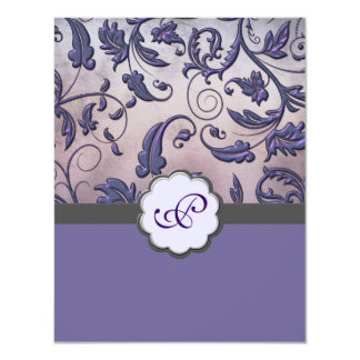 Purple Floral Monogram Save the Date Card