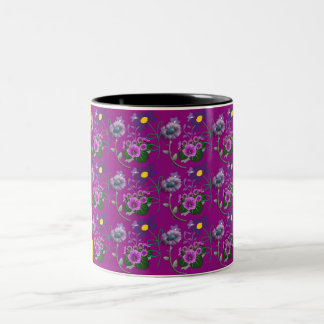Purple Floral Mug with Yellow and Black Stripes