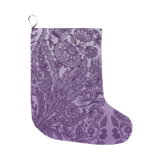 Purple Floral Ornaments Vintage Large Christmas Stocking