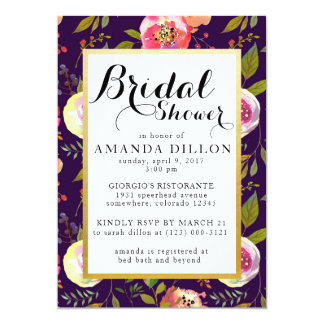 PURPLE FLORAL PATTERN Bridal Shower Invitation