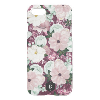 Purple Floral Pattern Custom Initials iPhone 8/7 Case