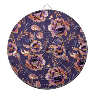 Purple Floral Pattern Dartboard