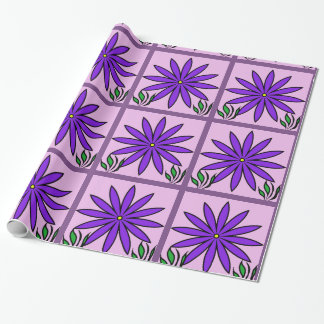 Purple Floral Pattern Design Wrapping Paper