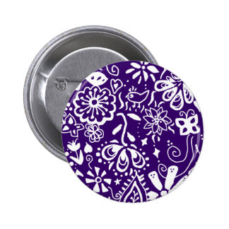 Purple Floral pattern Doodle Pins