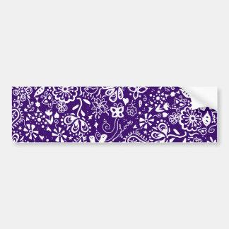 Purple Floral pattern Doodle Bumper Sticker
