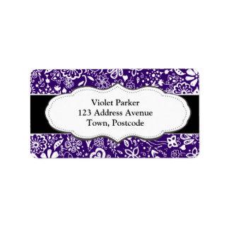 Purple Floral pattern Doodle Label