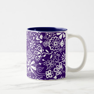 Purple Floral pattern Doodle Coffee Mugs