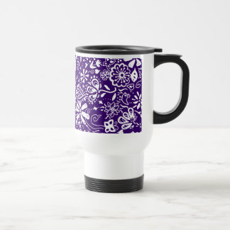 Purple Floral pattern Doodle Travel Mug