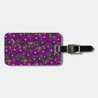 Purple floral pattern luggage tag