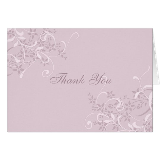 Purple Floral Pattern Wedding Thank You Card