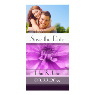 """Purple Floral  /photo  """"Save the Date"""" Customised Photo Card"""