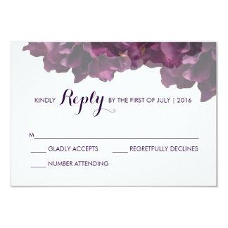 Purple Floral RSVP Card 9 Cm X 13 Cm Invitation Card