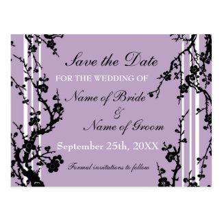Purple Floral Save the Date Wedding Postcard