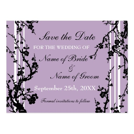 Purple Floral Save the Date Wedding Postcard