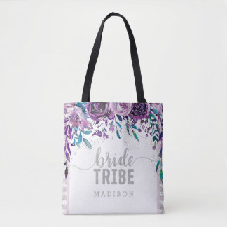 Purple Floral & Silver Confetti Bride Tribe Tote Bag