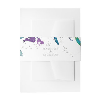 Purple Floral & Silver Confetti Wedding Invitation Invitation Belly Band