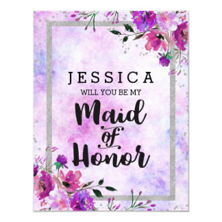 Purple Floral Silver Will You Be My Maid of Honor Card