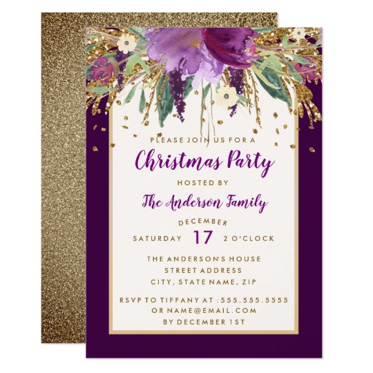Purple Floral Sparkling Amethyst Christmas Party Card
