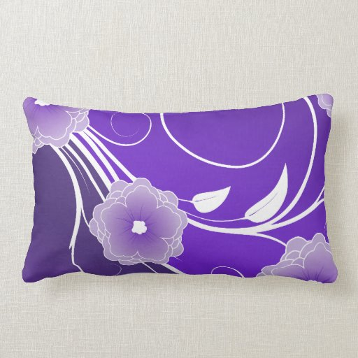 Purple Floral Swirl Pillow