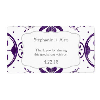 Purple Floral Swirl Wedding Water Bottle Favor