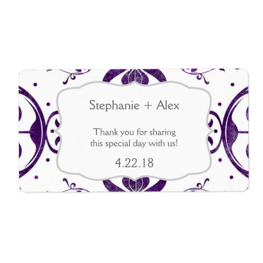 Purple Floral Swirl Wedding Water Bottle Favour Shipping Label