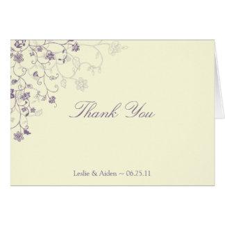 Purple Floral Swirls on Cream Thank You Card