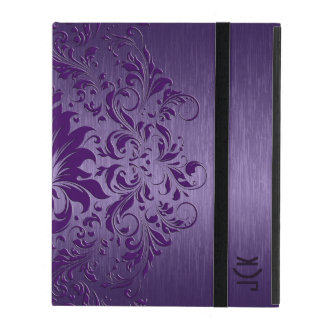 Purple Floral Swirls With Purple Background Case For iPad