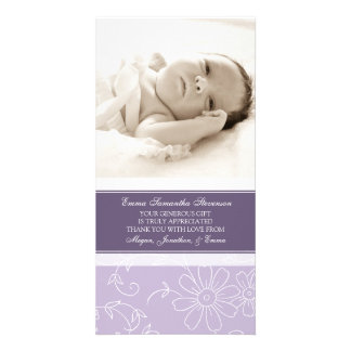 Purple Floral Thank You Baby Shower Photo Cards
