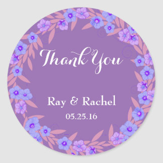 Purple floral Thank You Classic Round Sticker