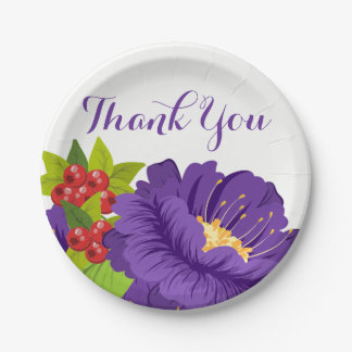 Purple Floral Thank You Flowers - Wedding Party Paper Plate
