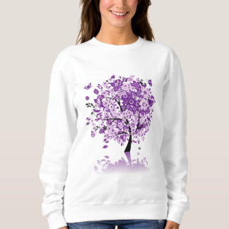 Purple Floral Tree White Sweatshirt