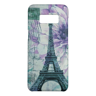 purple floral Vintage Paris Eiffel Tower Case-Mate Samsung Galaxy S8 Case