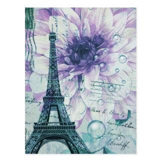 purple floral Vintage Paris Eiffel Tower Postcard