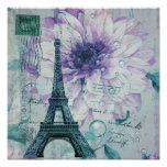 purple floral Vintage Paris Eiffel Tower Poster