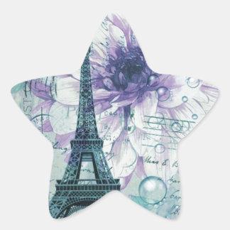 purple floral Vintage Paris Eiffel Tower Star Sticker