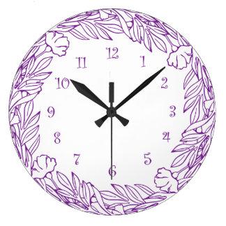 Purple Floral Wall Decor Clock