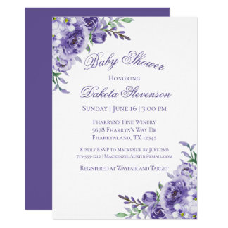 Purple Floral Watercolor Elegant Baby Shower Card