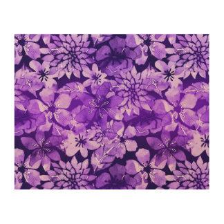 Purple floral watercolor pattern wood prints