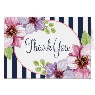 Purple Floral Watercolor Thank You Blue Stripes Card