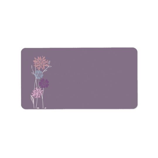 Purple Floral Wedding Mailing Address Label