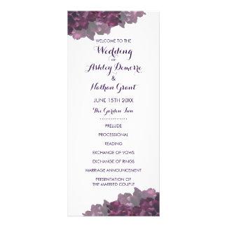 Purple Floral Wedding Program Rack Card