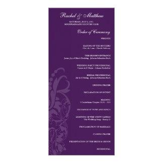 Purple Floral Wedding Program Custom Rack Card