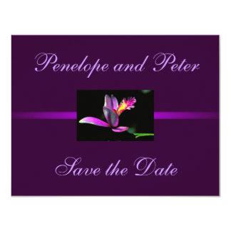 Purple Floral Wedding Save the Date Modern Bride 11 Cm X 14 Cm Invitation Card