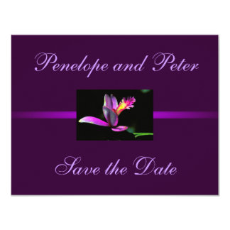 Purple Floral Wedding Save the Date Modern Bride 11 Cm X 14 Cm Invitation Card