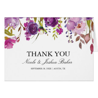Purple Floral Wedding Thank You Card