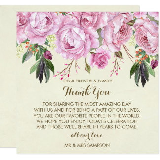 purple floral wedding thank you reception card