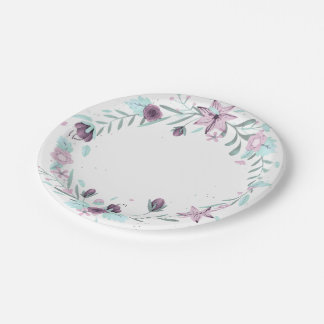 Purple Floral Wreath 7 Inch Paper Plate